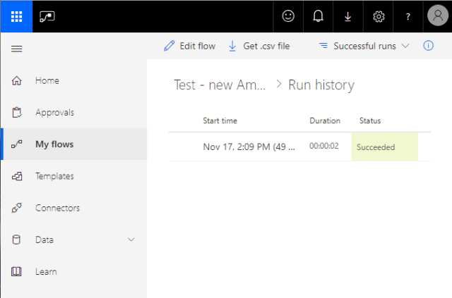 Email Automation Microsoft Flow flow successful