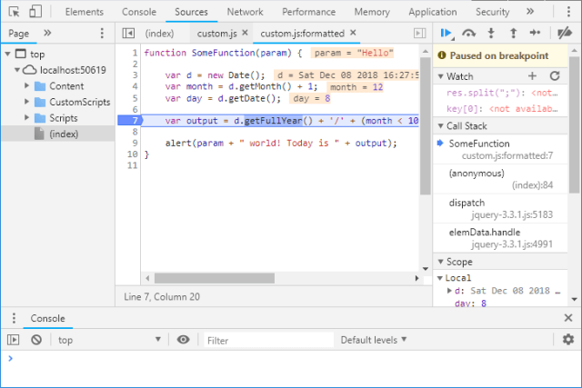 Adding breakpoints in Chrome Dev Tools