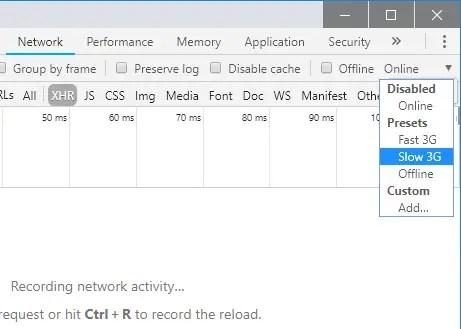Chrome Dev Tools Network Slow 3G