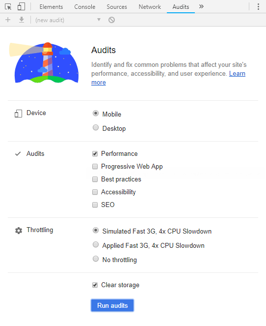 Run site audit in Chrome Dev Tools