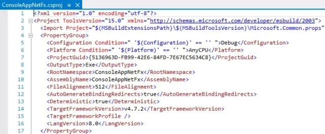 csproj file with langversion modified to target C# 8