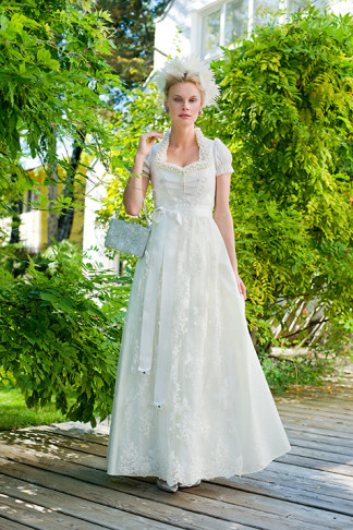 Langes Brautdirndl weiß