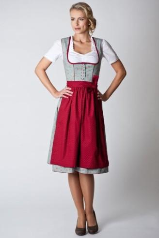 Dirndl Angelika - klassisches Oktoberfestdirndl mit zartem Rosenmuster und traditionellen Knöpfen.