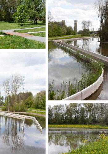 """Ecological Urbanism: Wijkeroogpark in Velsen-Noord, the Netherlands (Bureau B + B urbanism and landscape architecture in collaboration with Atelier de Lyon) is """"an elegant, streamlined watercourse performs a host of ecological functions"""" within a highly engineered landscape, restoring and newly creating """"portions of a freshwater stream that was once imporisoned in a culvert,"""" reclaiming brackish marsh habitat, and providing recreation paths and sports fields. / Bureau B + B"""