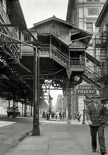 Third Avenue Elevated Railway at 18th Street in 1942 / Marjorie Collins via The Design Trust for Public Space