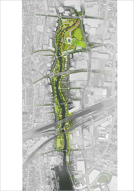 The Mill River Park and Greenway, ASLA 2015 Professional General Design Honor Award. An example of the successful introduction of nature into a city's fabric / Nature and Cities, Lincoln Institute of Land Policy