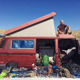 Westfalia and climbing gear