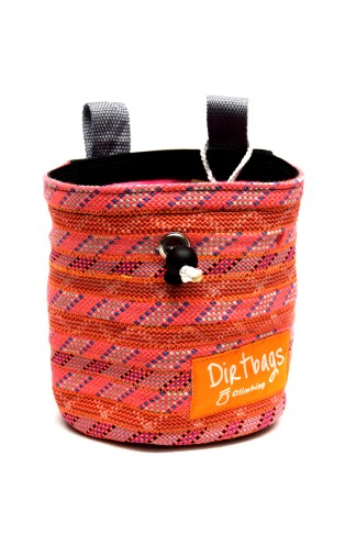 Front view of pink chalk bag made using recycled climbing rope