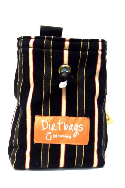 Repurposed fabric chalk bag black and white pinstripes