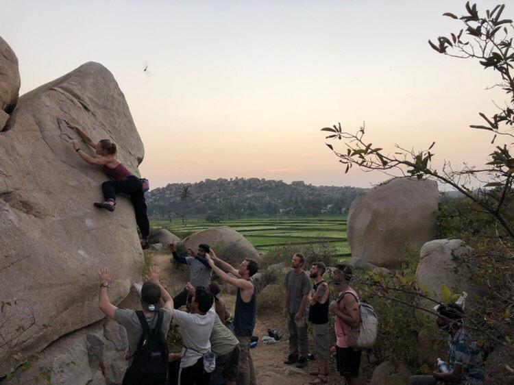 Spotting at Hampi Golden boulders festival, Zoe Allin climber and dirtbag