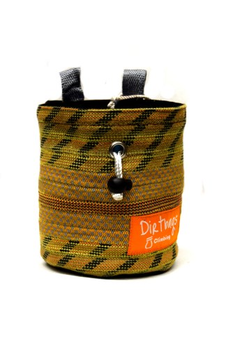 Yellow chalk bag made with recycled climbing rope