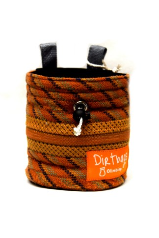 Orange chalk bag made with recycled climbing rope with blue internal fleece