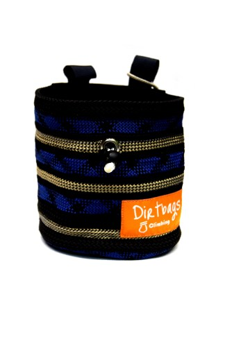 Rope chalk bag for climbing, blue and black
