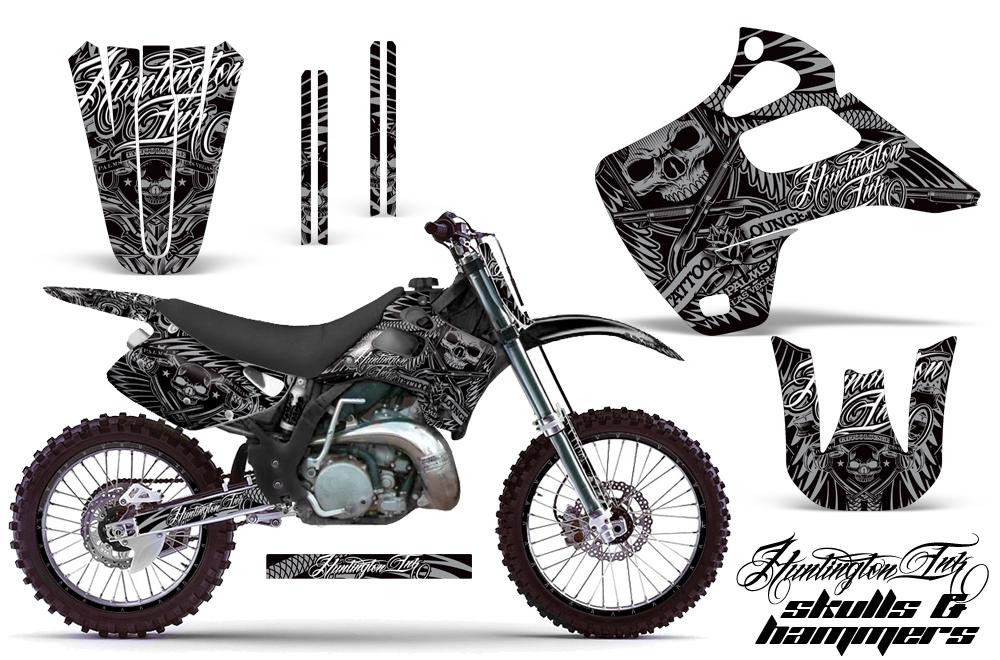 Kawasaki KX125 KX250 92-93 Graphics Kit HI Skulls Hammers