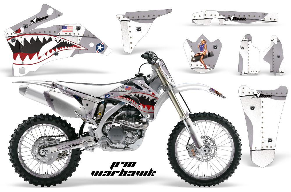 Yamaha YZ 250F 450F 02-09 Graphics Kit P40 Warhawk White