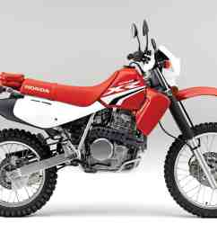 of the three japanese 650cc dual sport bikes the honda is by far the most dirt worthy the air cooled electric start five speed has gone almost unchanged  [ 1200 x 830 Pixel ]