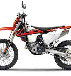 ktm s smallest dual sport bike is similar to the fe350 but feels smaller and lighter this machine is 90 percent dirt bike and feels somewhat out of place  [ 1200 x 781 Pixel ]