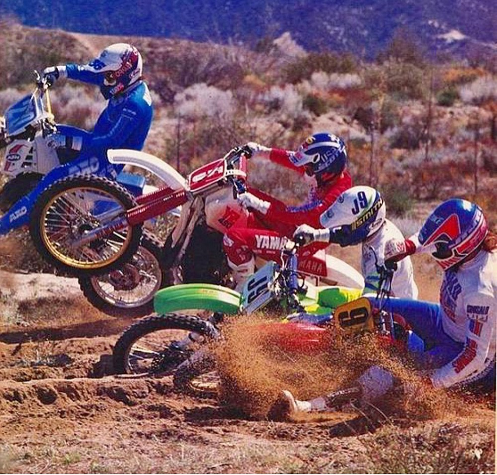 medium resolution of i m on the inside on the honda cr500 the general jon miller is next to me with my buddy larry roeseler on the yz490 next in