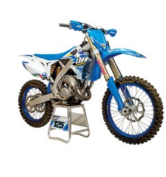 tm s two stroke mx bikes feature a hand welded aluminum frame and sand cast motors with electronic power valves the fork is by kyb and the shock is made  [ 1200 x 799 Pixel ]