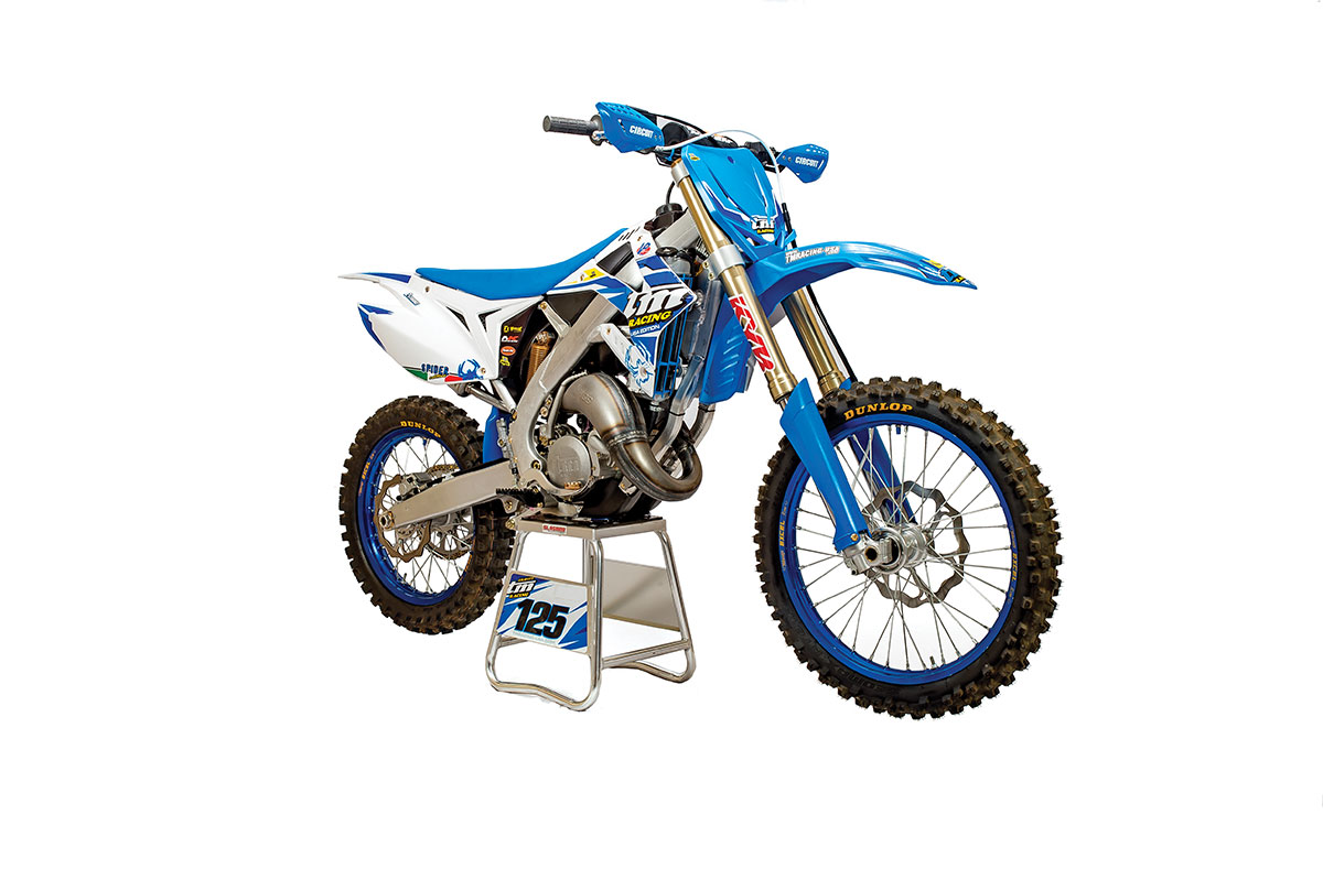 hight resolution of tm s two stroke mx bikes feature a hand welded aluminum frame and sand cast motors with electronic power valves the fork is by kyb and the shock is made
