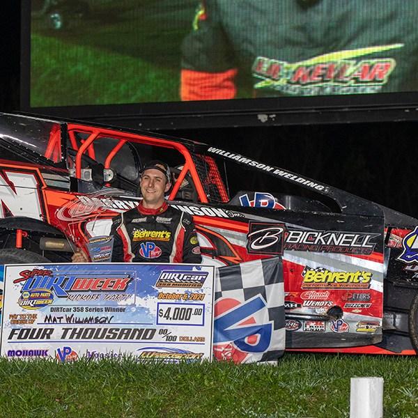HELLUVA PARTY: Mat Williamson wins epic duel at Weedsport Speedway to kickoff NAPA Super DIRT Week