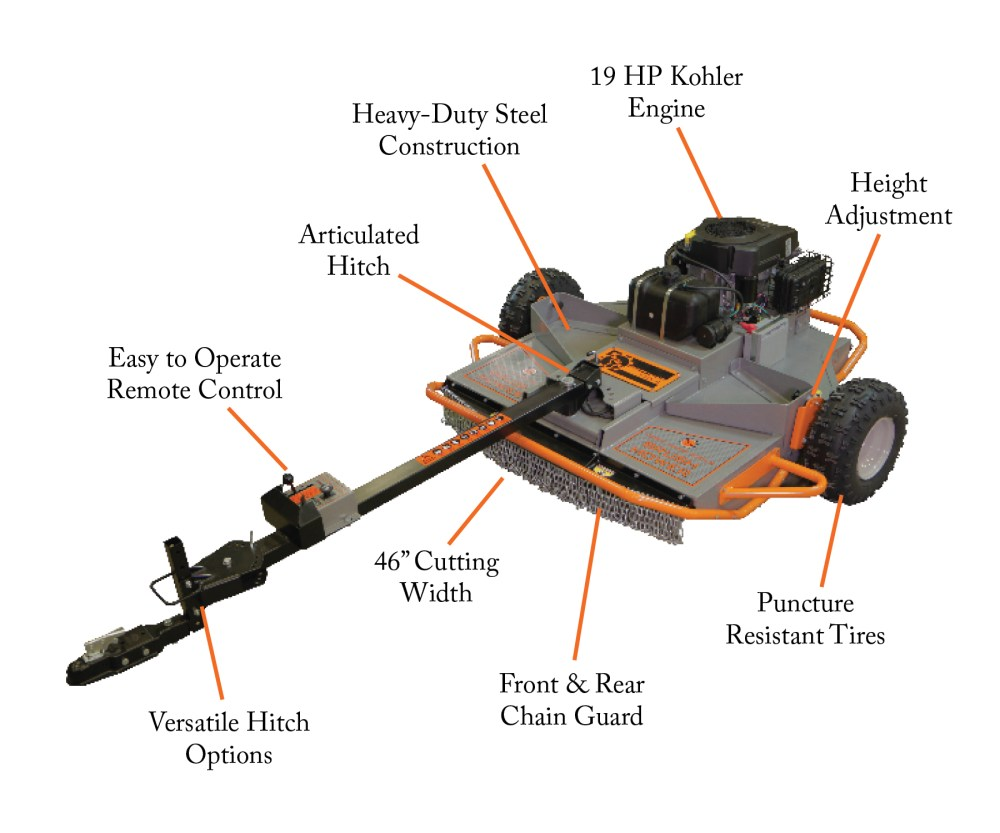 medium resolution of home field brush mowers tow behind rough cut mower kohler engine