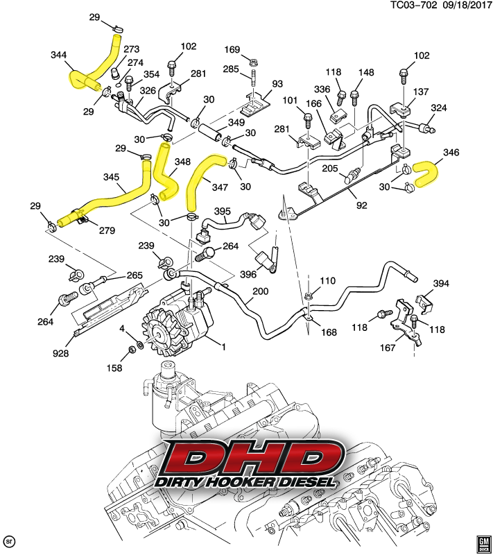 DHD 700-015 LLY Duramax Low Pressure OEM Fuel Line Kit