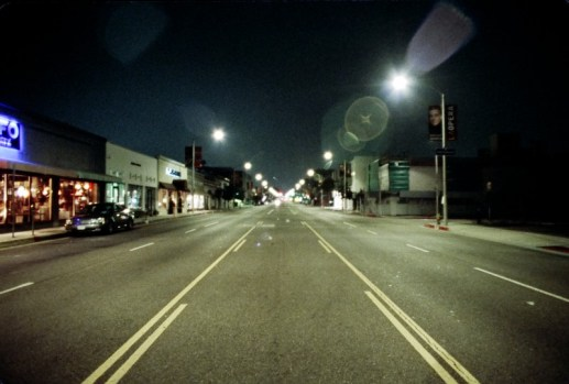 a night shot of melrose ave