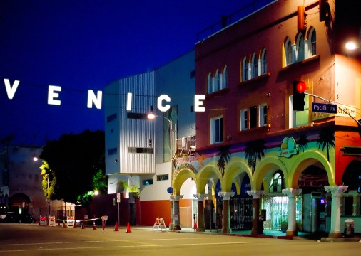 early morning viewing the iconic Venice sign on windward ave in Venice california