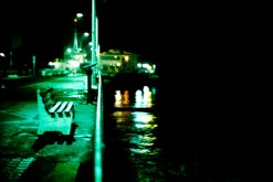 an empty santa monica pier after midnight