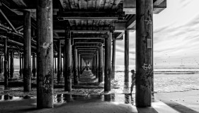 a man walks beneath the santa monica pier for shade