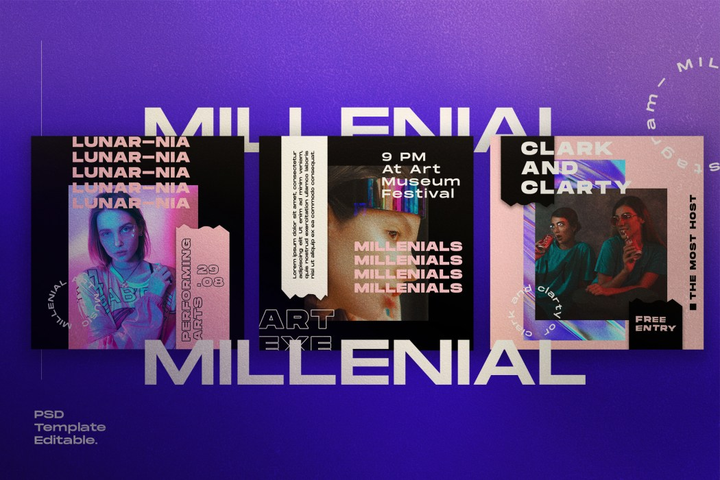 MILLENIALS// Social Media Kit Post & Stories