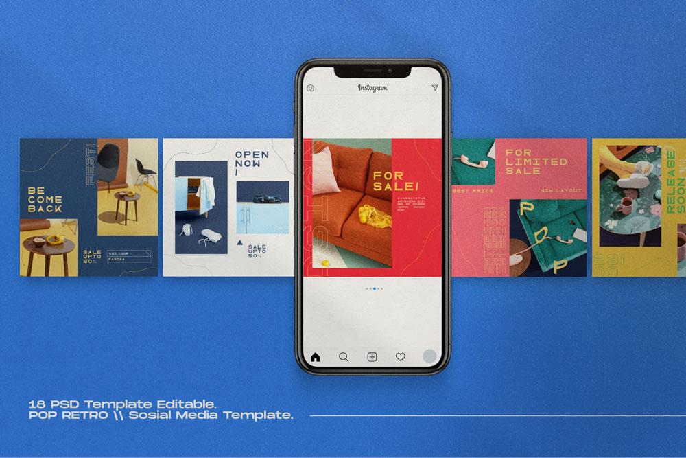 Pop Retro // Social Media Kit Post & Stories