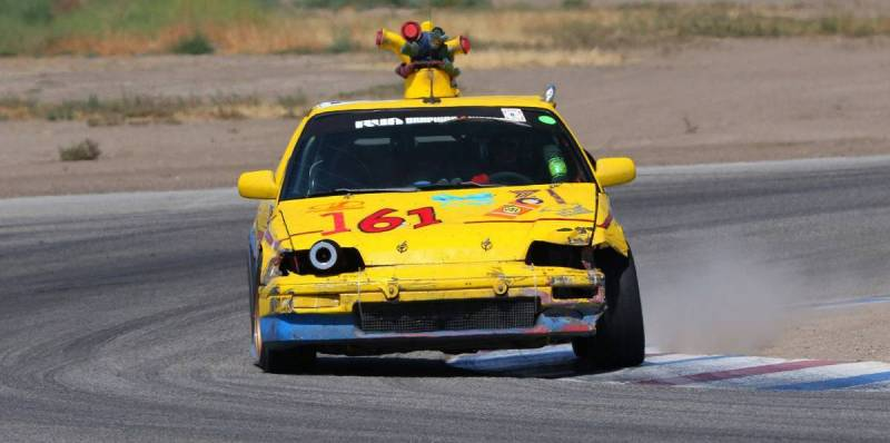 dirtyoldcars.com  1989 Honda Civic CRX SI Yellow Submarine Race Car Lemons Champ  5