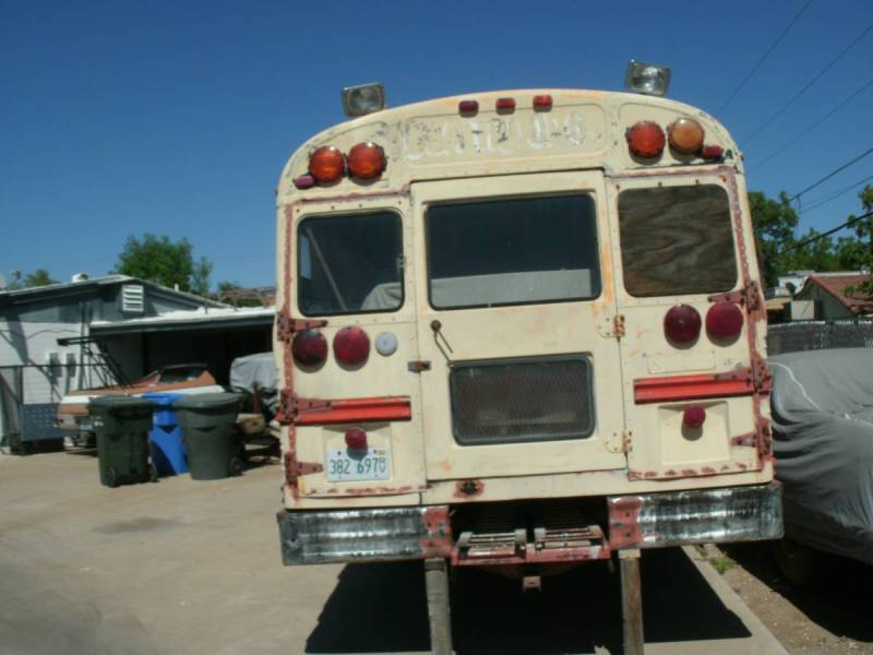 dirtyoldcars.com  school bus race car hauler  1