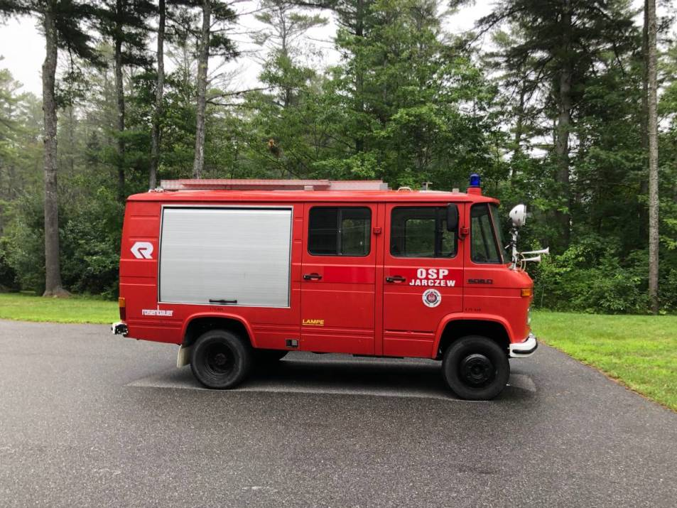 dirtyoldcars.com Mercedes 608D Polish Fire Truck Sprinter Maine 22
