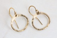 Simple Zen Circle - Small Drop Hoop Earrings - Hammered ...