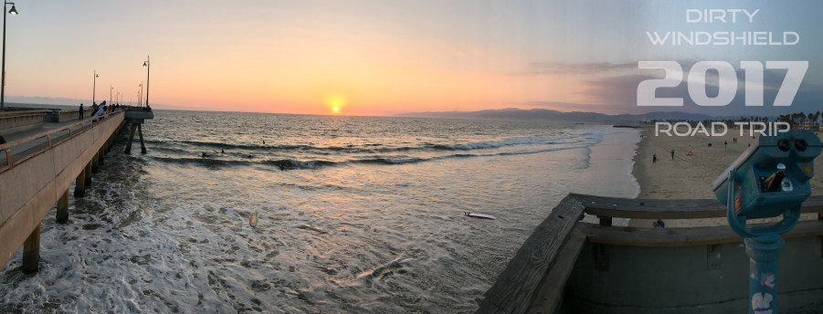 Venice Beach Pier at Sunset, Dirty Windshield Road Trip