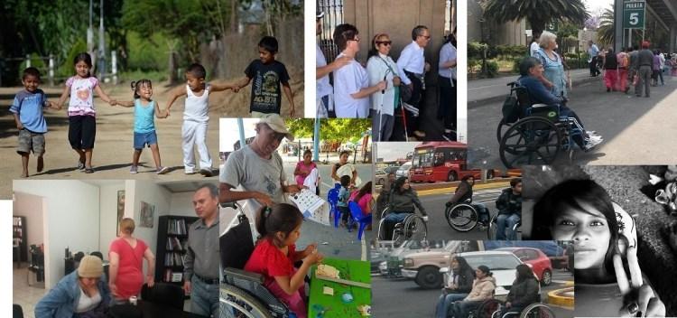 Conjunto de fotografías de niños, niñas y adultos con discapacidad.