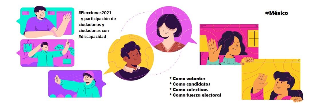 ilustración con representaciones de hombres y mujeres en recuadros de colores con actitud de conversación entre ellos.