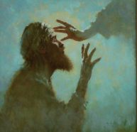 A man kneels with his face upturned toward Jesus' hand which is reaching toward him.