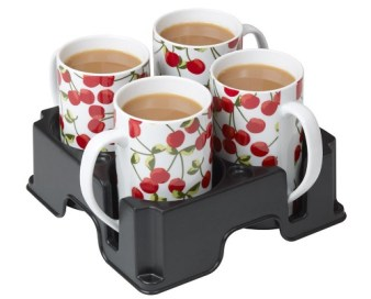 Muggi cup and mug holder with four mugs in it