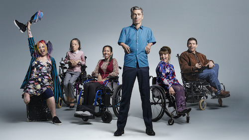 CripTales cast left to right - Jackie Hagan, Liz Carr, Carly Houston, Mat Fraser, Ruth Madeley and Robert Softly Gale