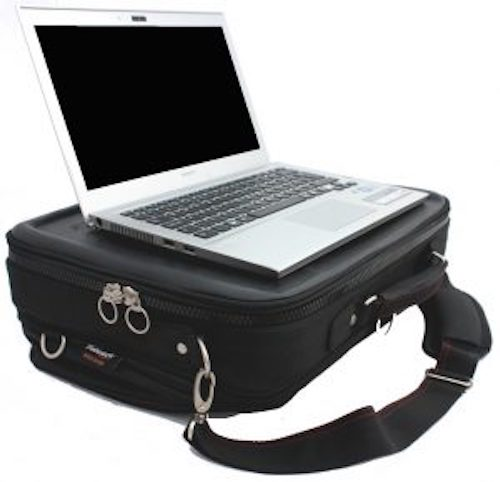 Trabasack Max wheelchair lap tray and bag with a laptop set on the top