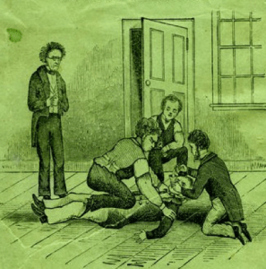"""Close up image from Astounding Disclosures cover includes a struggle between individuals inside the facility that Hunt calls a """"madhouse"""" , the Maine Lunatic Asylum in August, Me. Courtesy www.disabilitymuseum.org"""