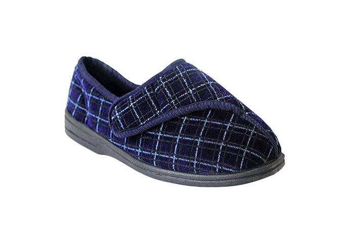 Mens Hook And Loop Strap Machine Washable Wide Fit Diabetic Orthopaedic Flat Slippers Shoes UK Sizes 6-11