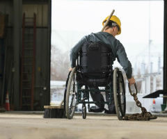 A construction worker in a wheelchair