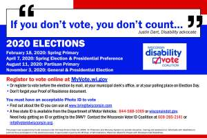 Front of Disability Vote Coalition postcard for 2020 Elections in English