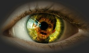 closeup of human eye with reflection of a child in the iris