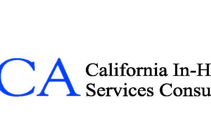 A logo for California In Home Supportive Services Consumer Alliance (CICA) the letters CICA are capitalized with three stick figures perched atop the letter 'C' and wings coming out of the left side.